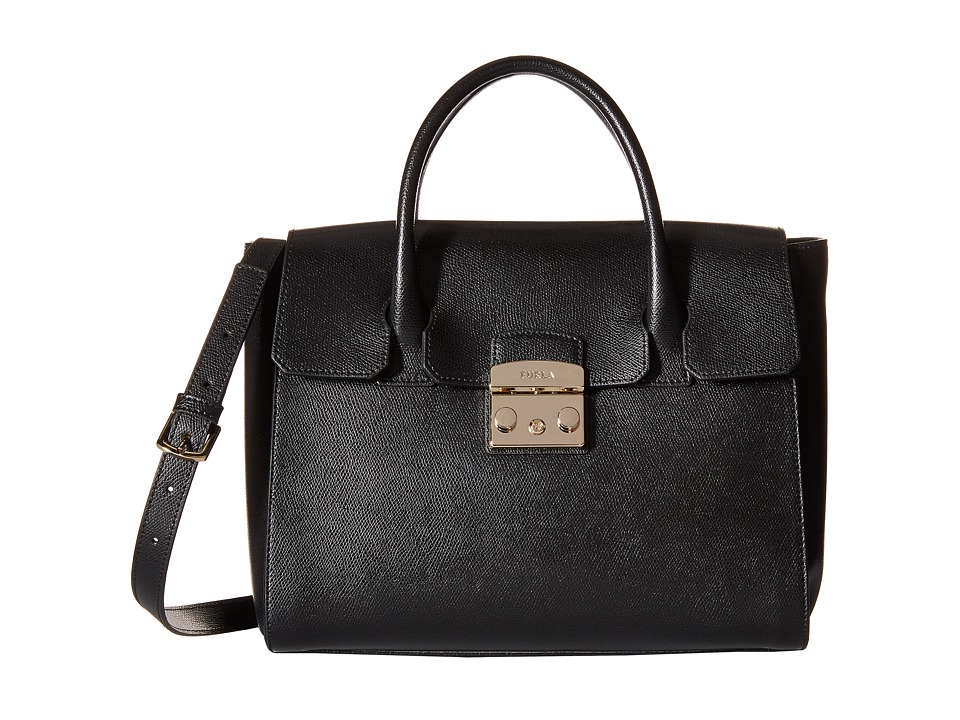 Furla - Metropolis Medium Satchel (Onyx) Satchel Handbags