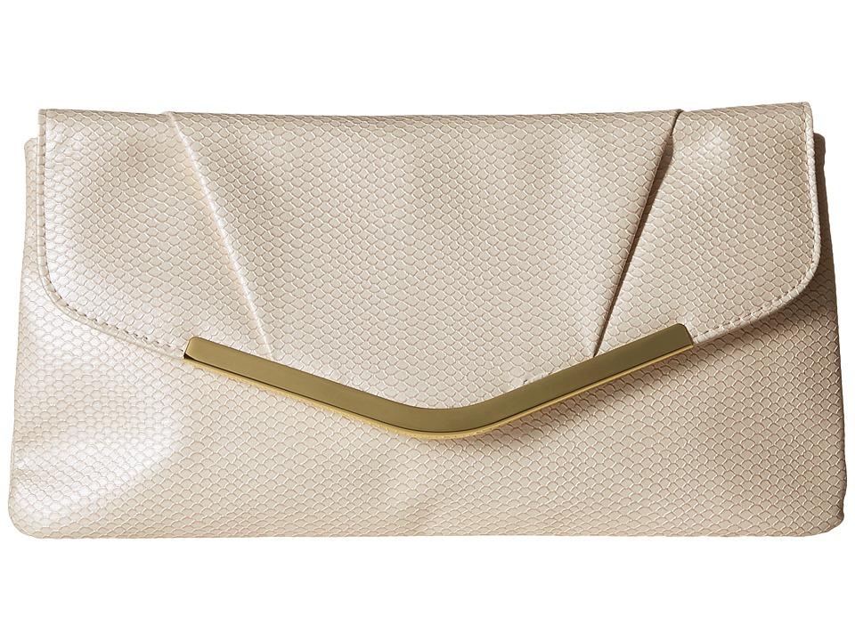 Jessica McClintock - Arielle Snake Envelope Clutch (Bone) Clutch Handbags