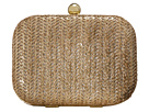 Jessica McClintock Roxie Metallic Straw Clutch (Gold)