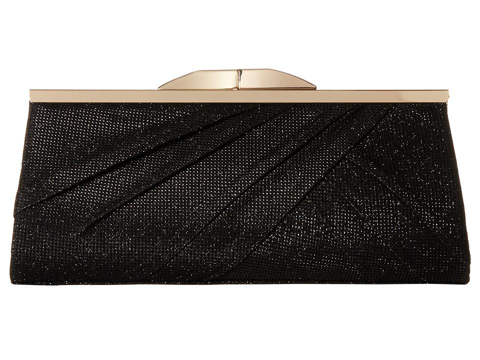 Jessica McClintock Sloan Metallic Lurex Clutch Black Clutch Handbags