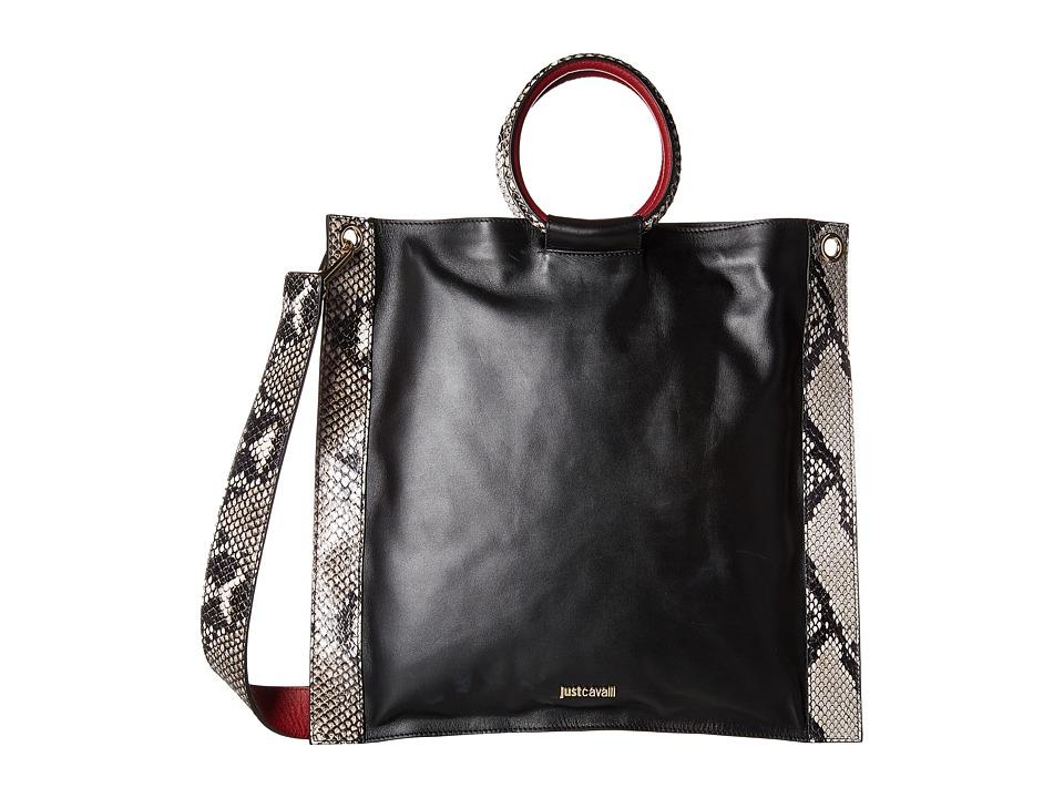Just Cavalli Nappa and Python Printed Leather Black Handbags