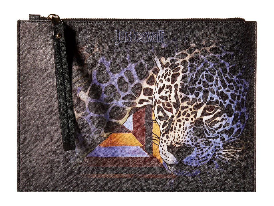 Just Cavalli Printed Eco Saffiano w/ Leopard Goose Beak Handbags