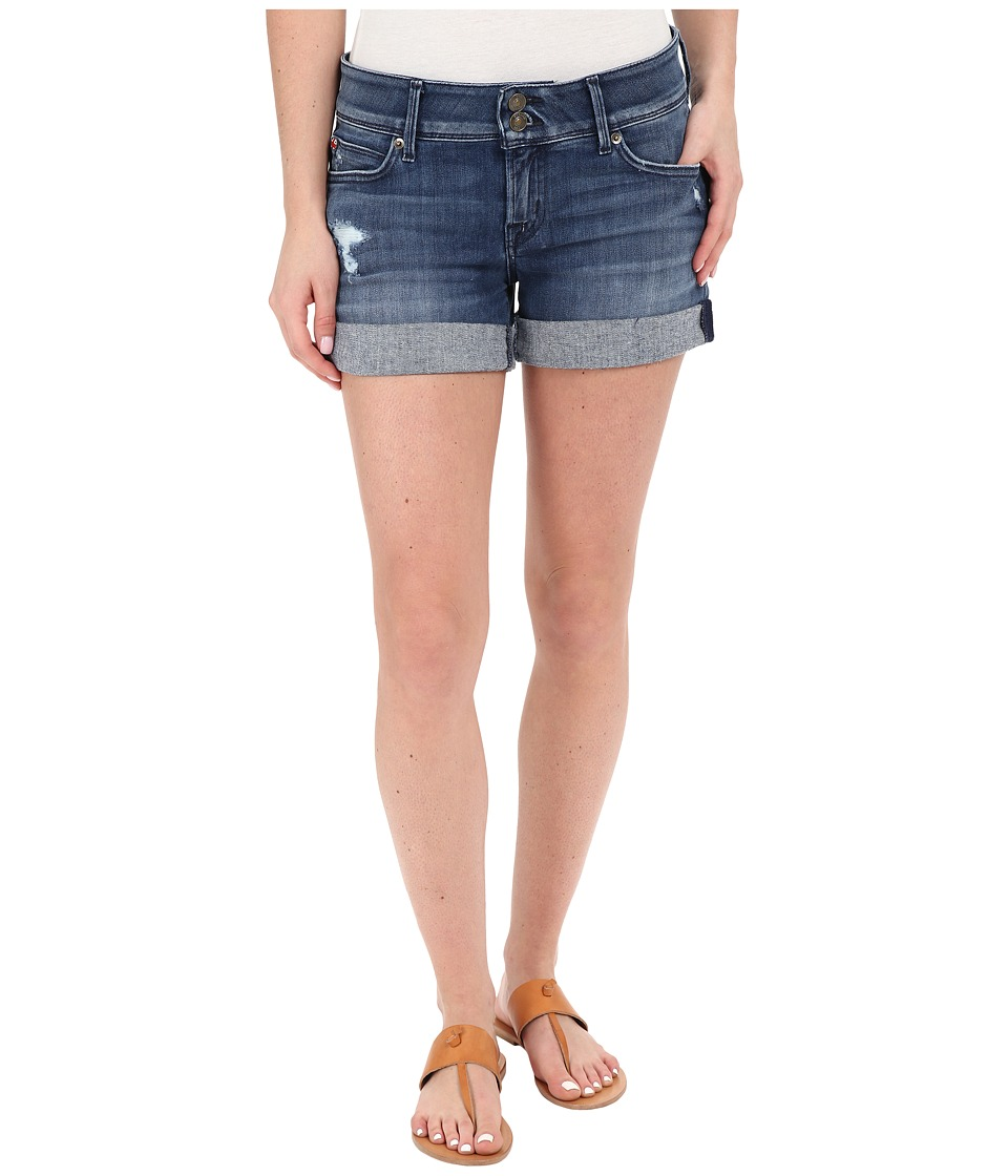 Hudson Croxley Mid Thigh Rolled Shorts with Distress in Sugarcane Sugarcane Womens Shorts