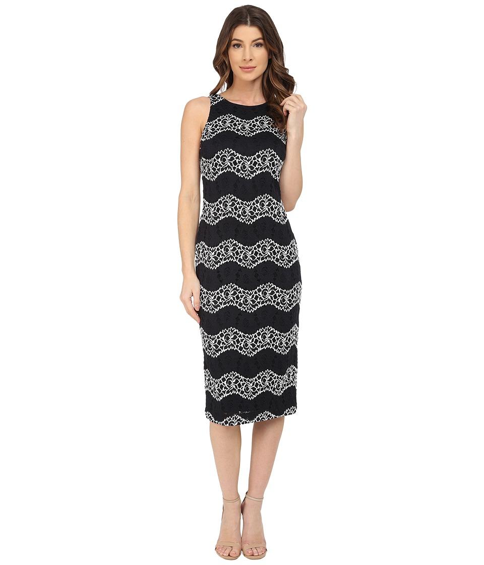Maggy London Wave Lace Sheath Dress Black/White Womens Dress