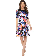 Maggy London - Rainbow Fragment Printed Scuba Fit and Flare Dress