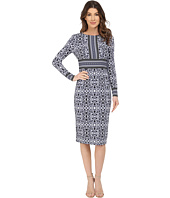 Maggy London - Vine Scroll Border Printed Matte Jersey Midi Dress