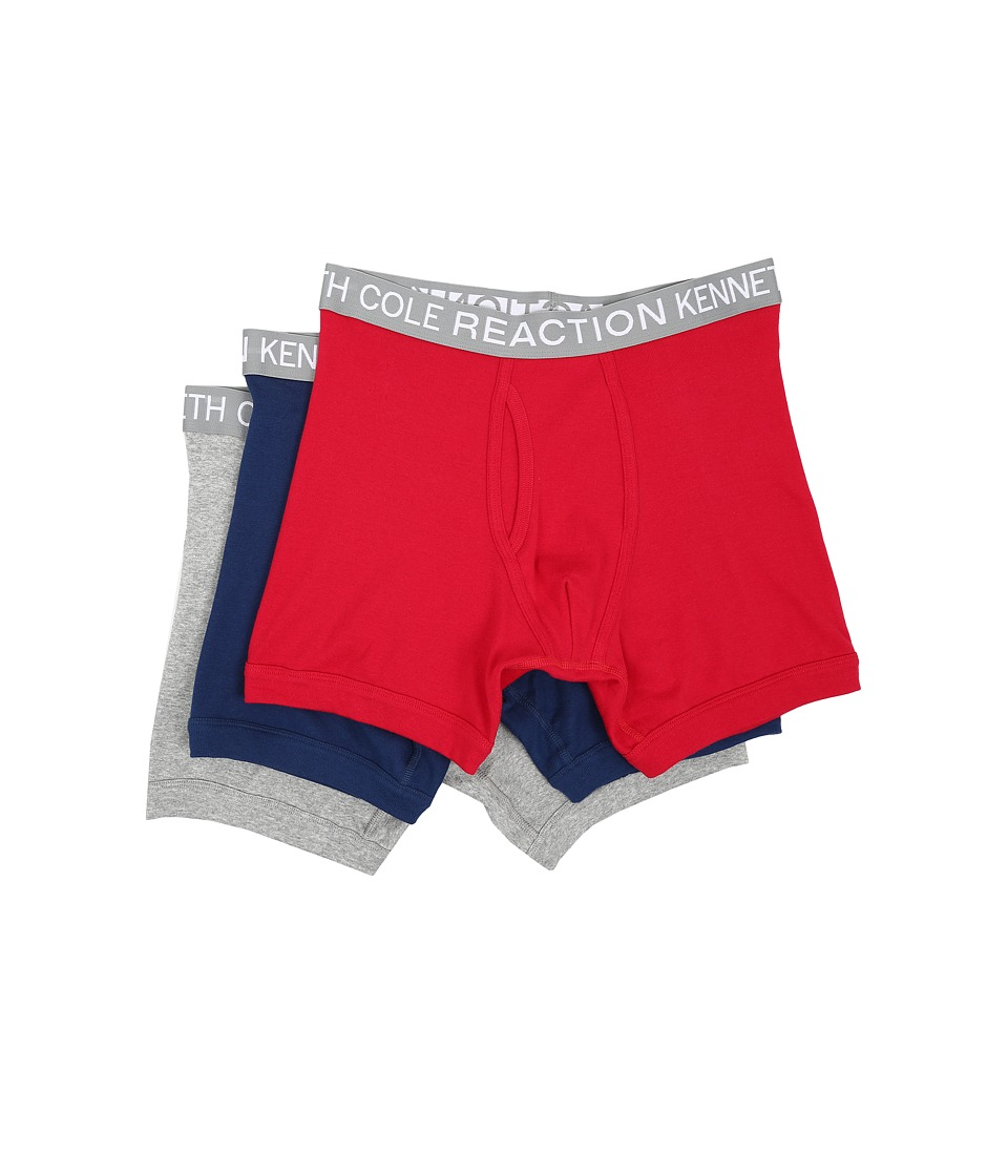 Kenneth Cole Reaction 3 Pack Boxer Brief Navy/Red/Light Grey Mens Underwear