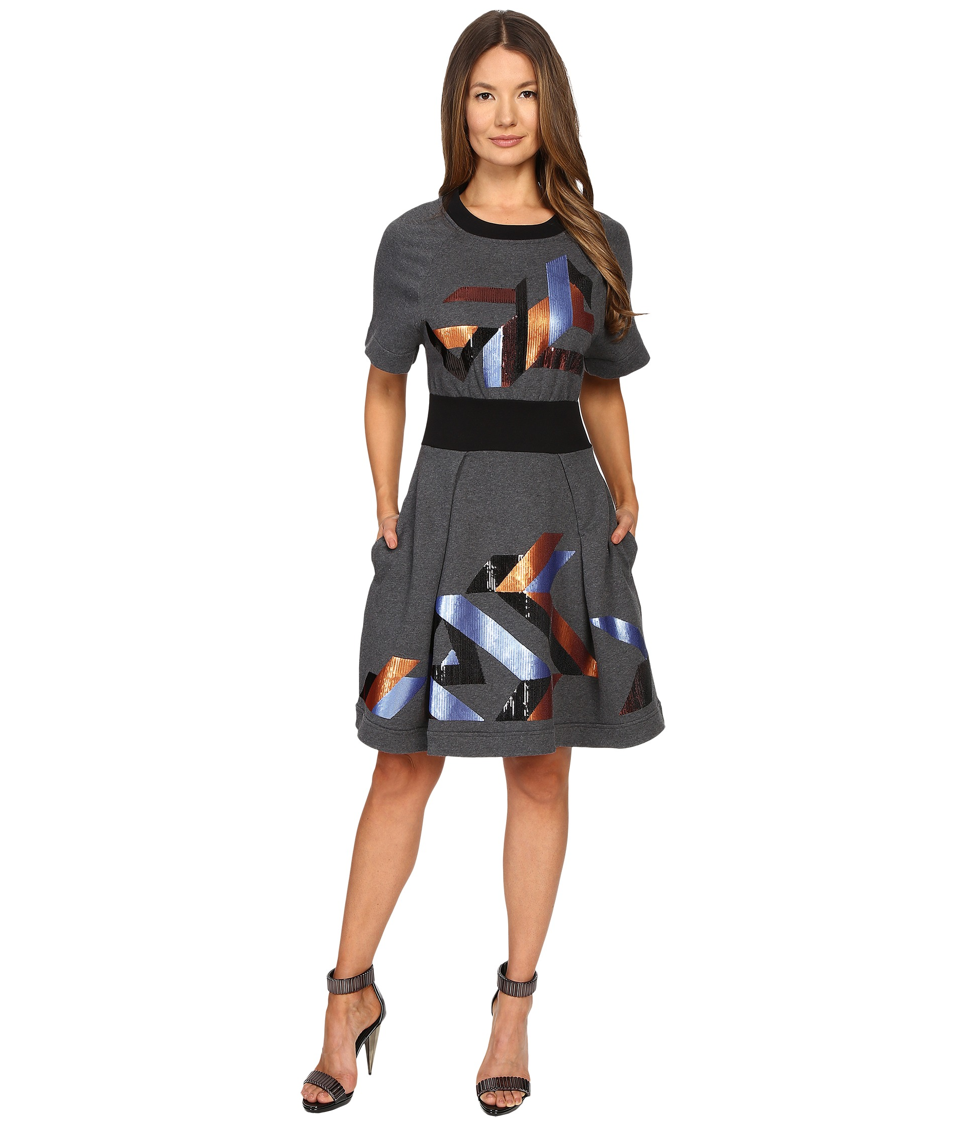 just cavalli geo sequin sweatshirt dress black free shipping both ways. Black Bedroom Furniture Sets. Home Design Ideas