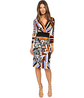 Just Cavalli - Flower Delaunay Print Long Sleeve Surplice Dress