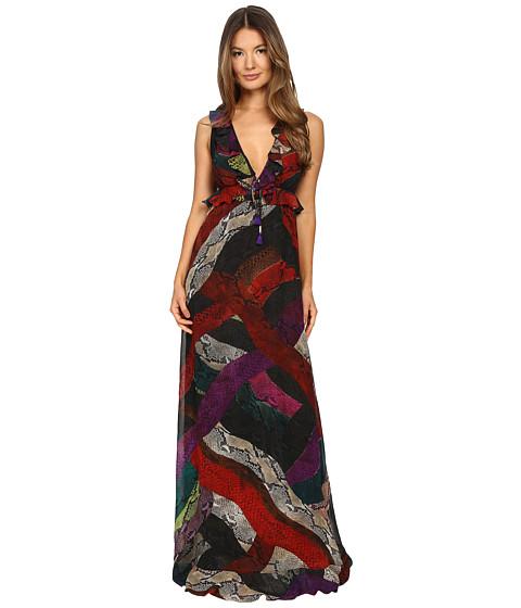 Just Cavalli Long Cross Naif Print Ruffle Gown