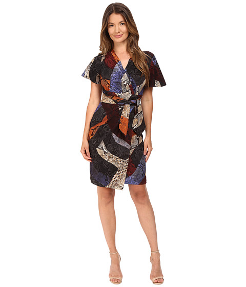 Just Cavalli Cross Naif Print Short Sleeve Faux Wrap Dress