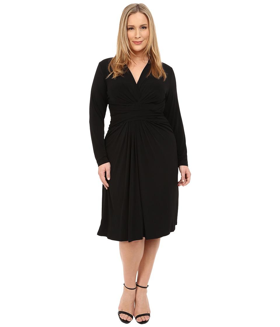 MICHAEL Michael Kors Plus Size Long Sleeve Faux Wrap Dress Black Womens Dress