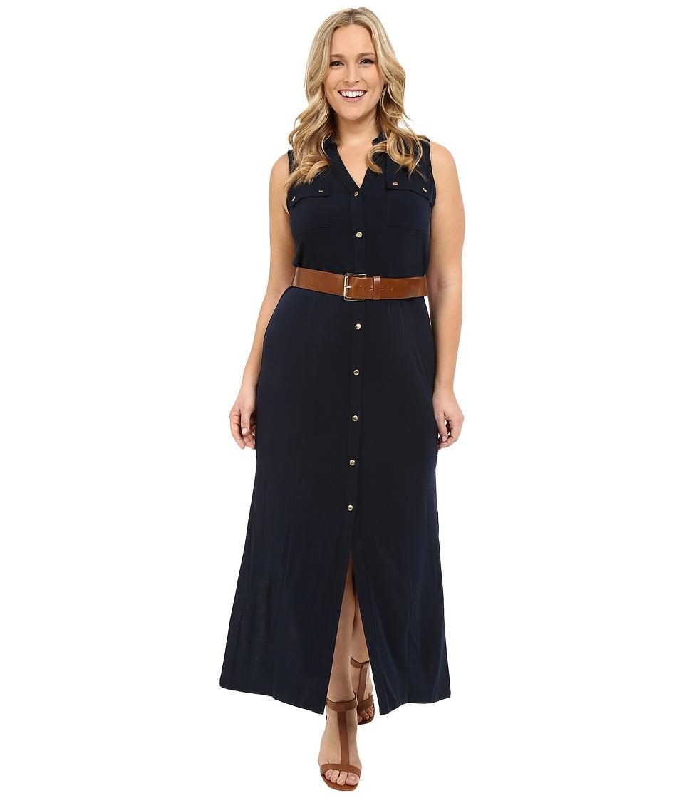 MICHAEL Michael Kors Plus Size Matte Jersey Sleeveless Maxi Shirtdress New Navy Womens Dress
