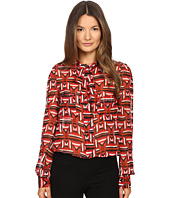 Just Cavalli - Sonya Print Bow Blouse w/ Chest Pockets