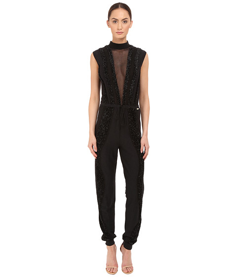Just Cavalli Knit Jumpsuit with Sheer Panel and Lurex Trim