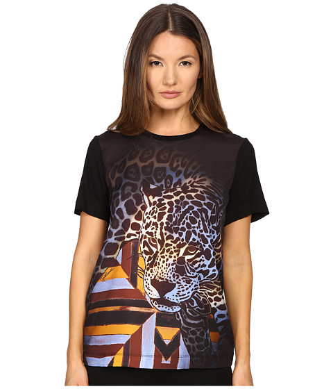 Just Cavalli Leopard/Geo Print Tee w/ Silk Panel