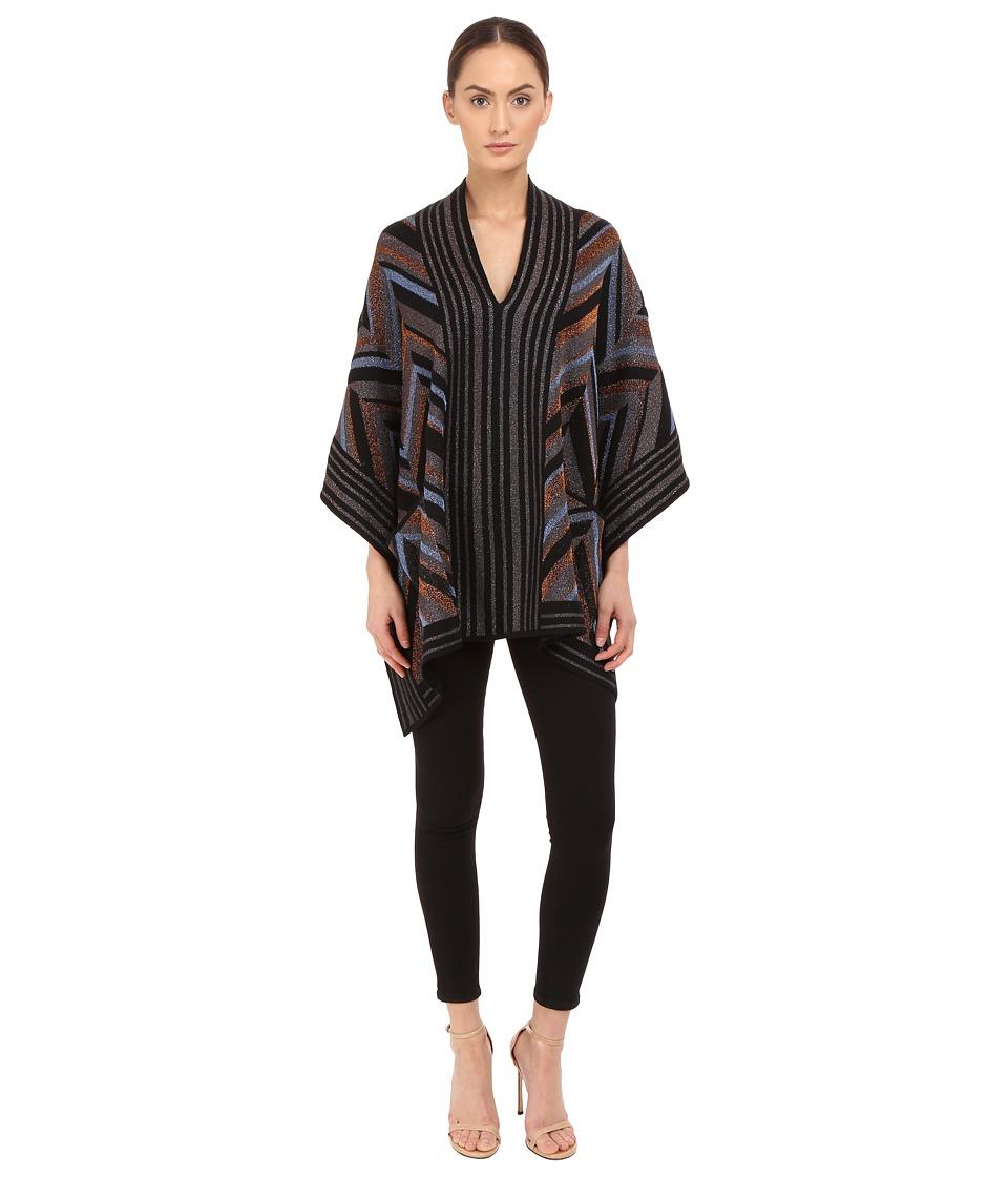 Just Cavalli Lurex Knit Chevron Poncho Black/Brown Womens Coat