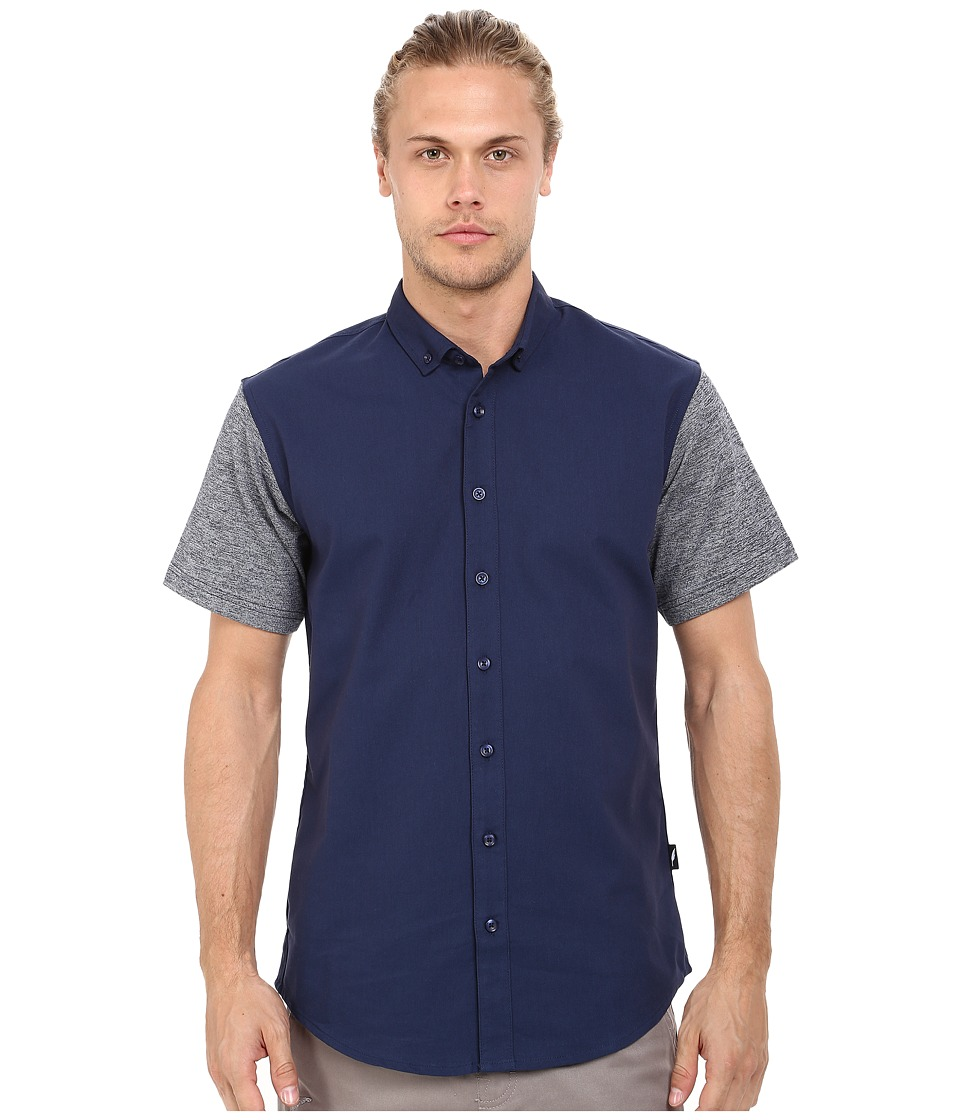 Publish Hans Premium Oxford Short Sleeve Button Up Navy Mens Clothing