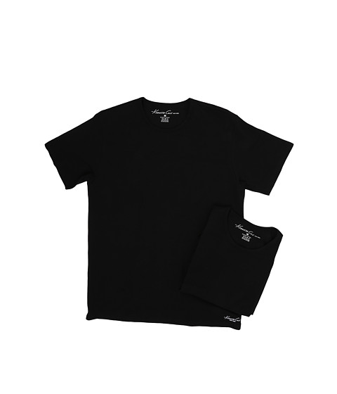 Kenneth Cole Reaction Crew Neck Super Fine Cotton Tee - 2-Pack - Black