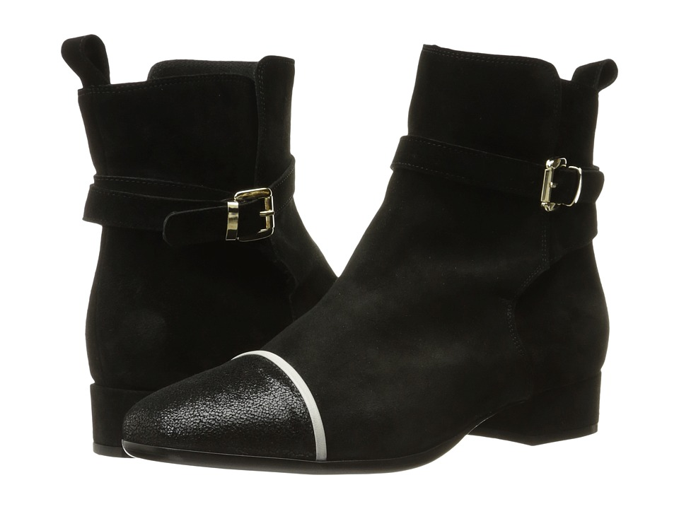 Just Cavalli Laminated Crackle Low Heel Ankle Bootie (Black) Women