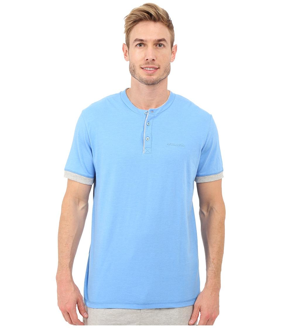 Kenneth Cole Reaction Henry Neck T Shirt Marine Blue Heather/Light Grey Heather Mens T Shirt