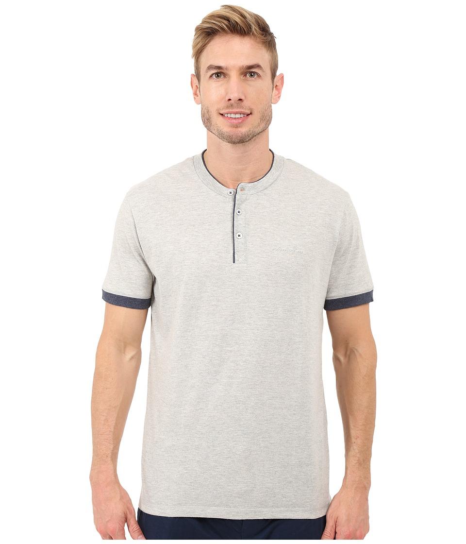Kenneth Cole Reaction Henry Neck T Shirt Light Heather Grey/Black Iris Mens T Shirt