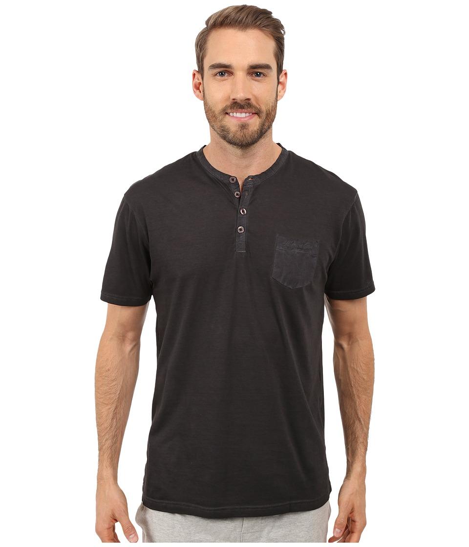 Kenneth Cole Reaction Henley Neck T Shirt Black Mens T Shirt