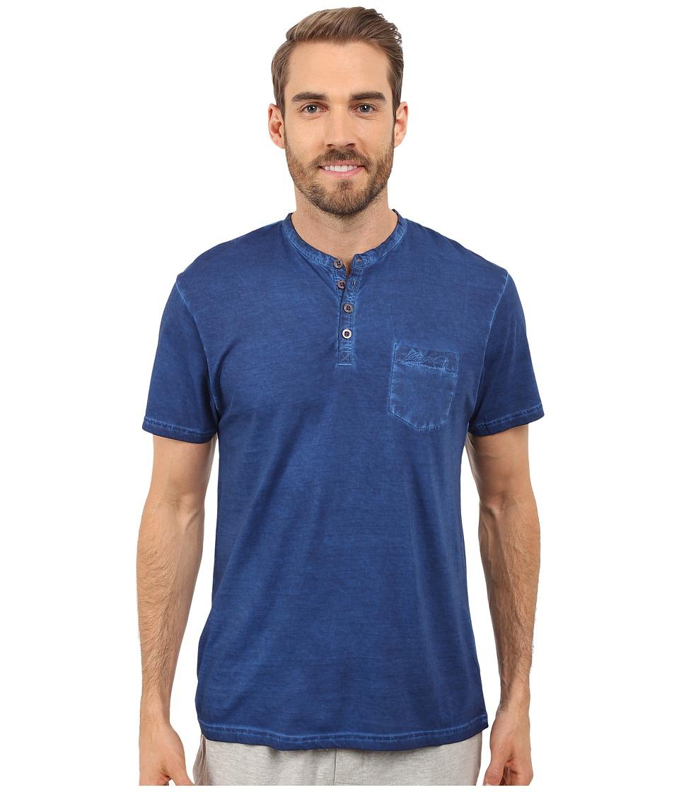 Kenneth Cole Reaction Henley Neck T Shirt Dark Blue Mens T Shirt