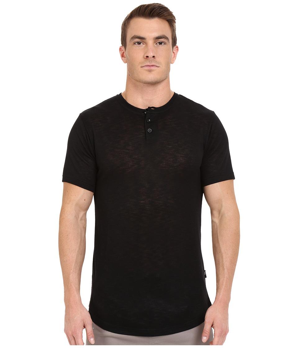 Publish Amadeo Mock Twist Knit Short Sleeve Henley Black Mens Clothing