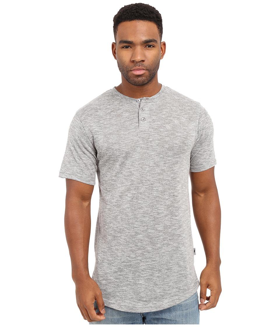 Publish Amadeo Mock Twist Knit Short Sleeve Henley Grey Mens Clothing