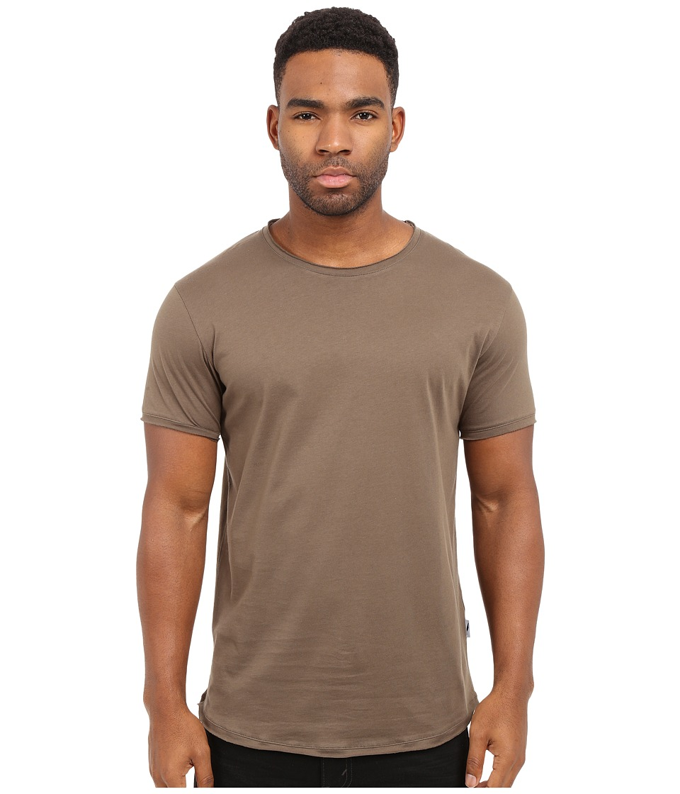 Publish Sato Premium Lightweight Cotton Knit Tee with Raw Split Edges Olive Mens T Shirt