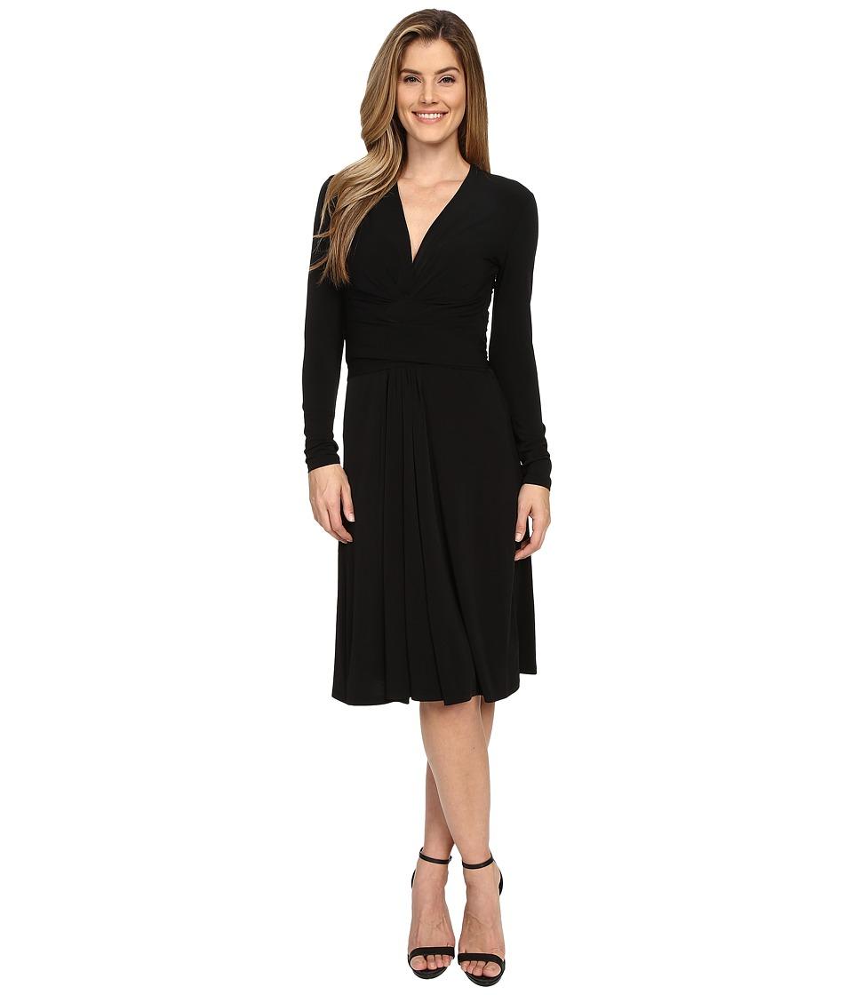 MICHAEL Michael Kors Long Sleeve Faux Wrap Dress Black Womens Dress