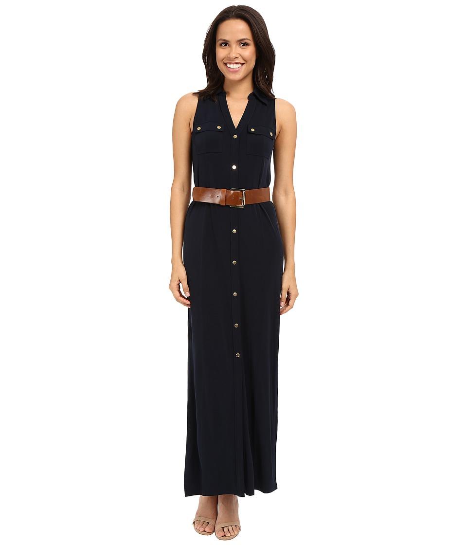 MICHAEL Michael Kors Matte Jersey Sleeveless Maxi Shirtdress New Navy Womens Dress