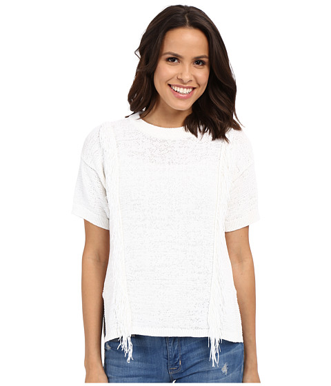 MICHAEL Michael Kors Fringe Short Sleeve Crew Sweater