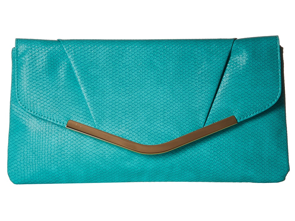 Jessica McClintock Arielle Snake Envelope Clutch Mint 1 Clutch Handbags