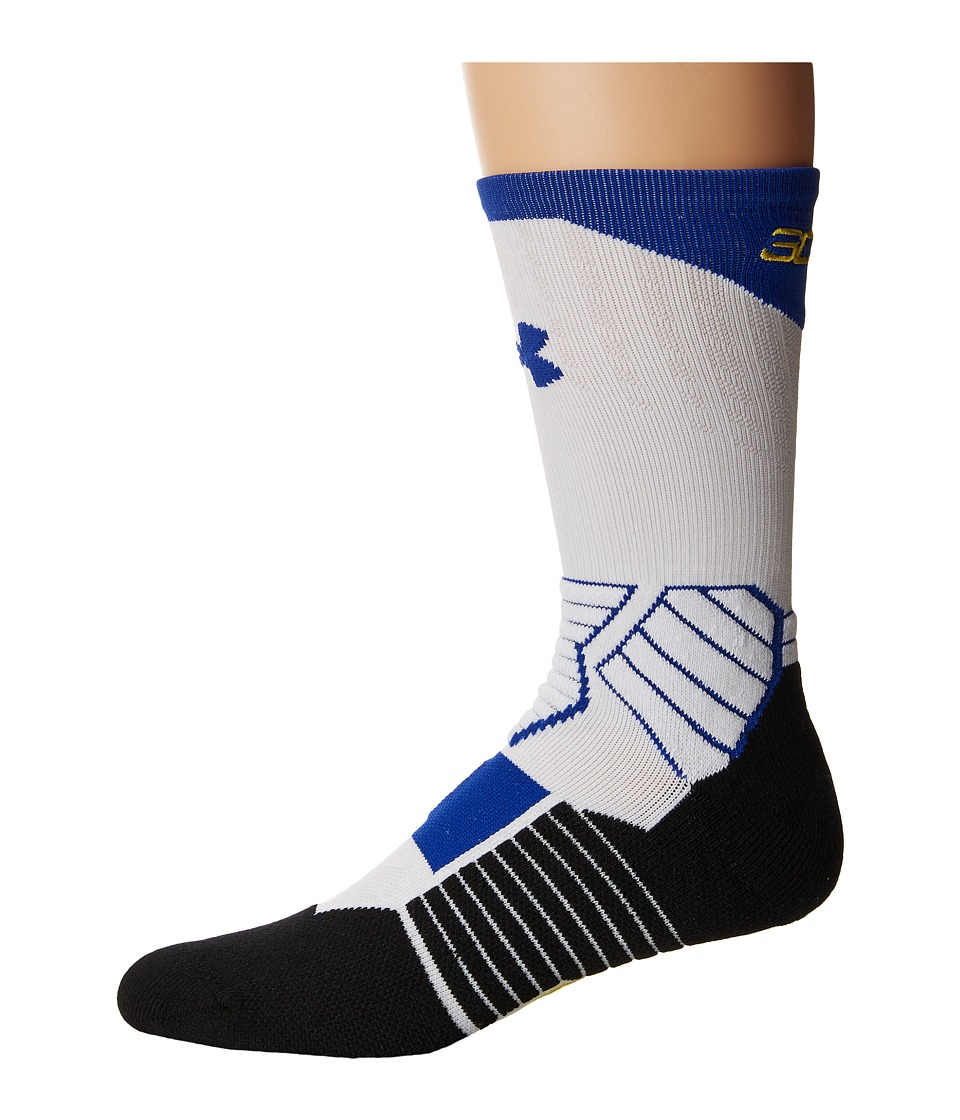 Under Armour - UA Basketball Curry Crew (White/Royal/Taxi Yellow) Mens Crew Cut Socks Shoes