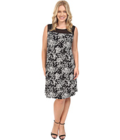 Vince Camuto Plus - Plus Size Sleeveless Dotted Cityscape Dress with Chiffon Yoke