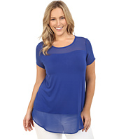 Vince Camuto Plus - Plus Size Short Sleeve Top with Poly Chiffon Yoke and Hem