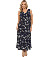 Vince Camuto Plus - Plus Size Wood Block Floral V-Neck Maxi Dress