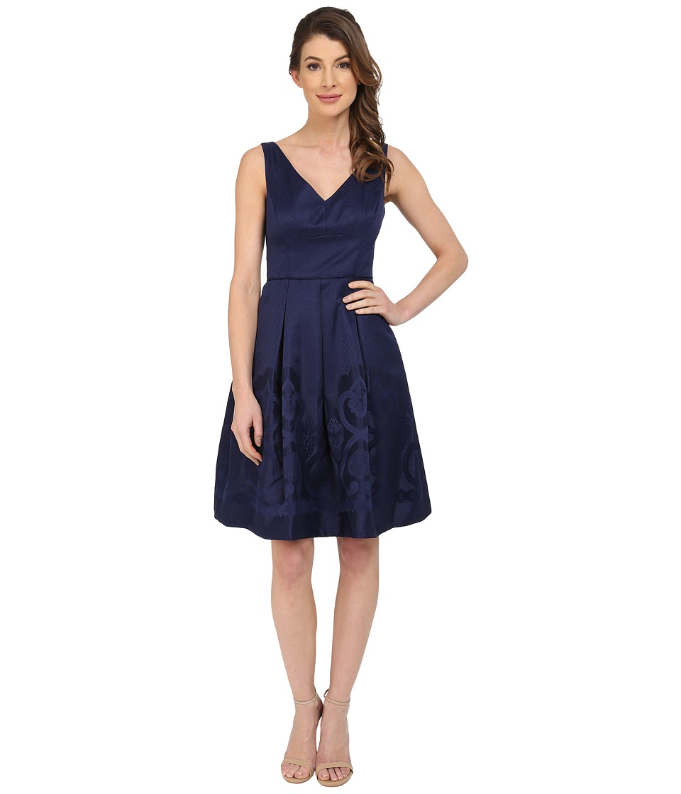 Maggy London Scroll Border Jacquard Fit and Flare Dress Galaxy Blue Womens Dress