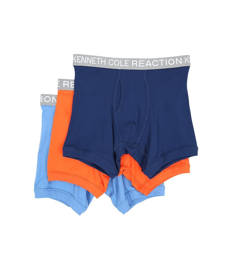 Kenneth Cole Reaction 3 Pack Boxer Brief Navy/Red/Orange/Marine Blue Mens Underwear