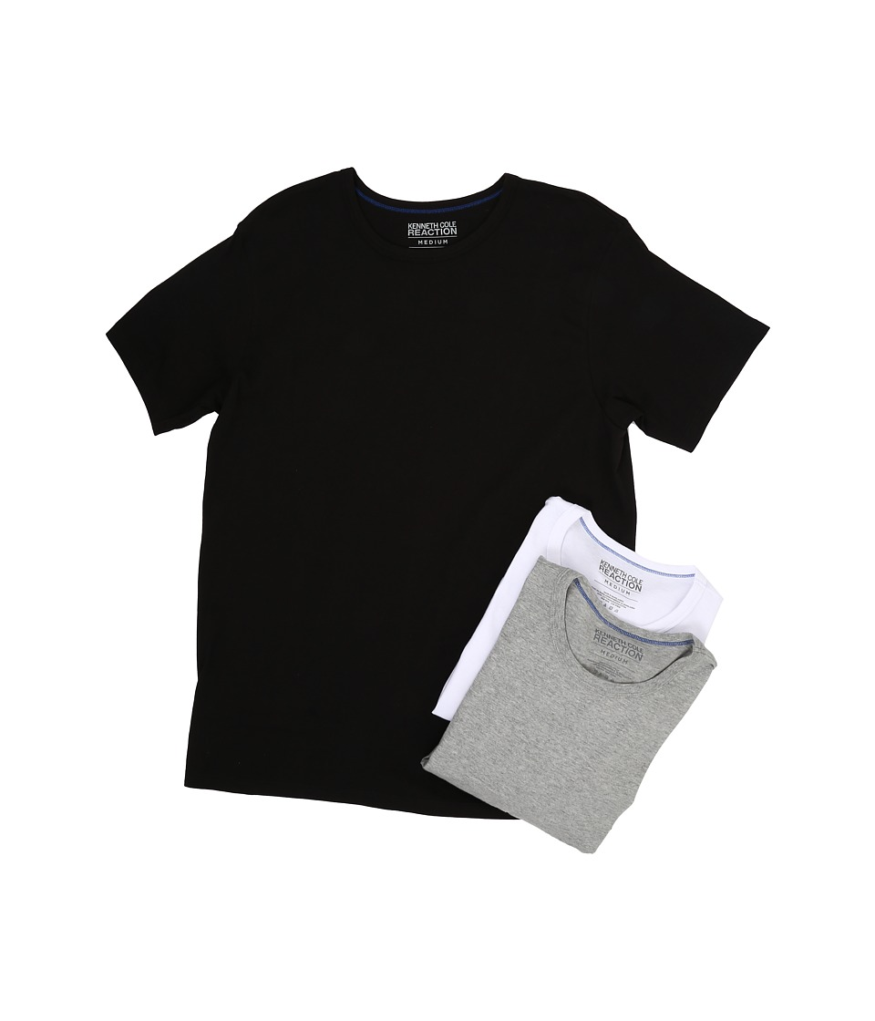 Kenneth Cole Reaction 3 Pack Crew Neck Tee Black/Grey Heather/White Mens T Shirt