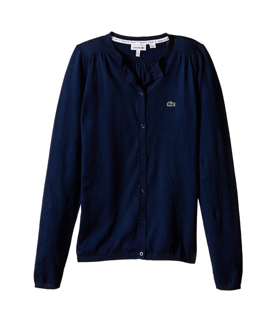 Lacoste Kids Classic 100 Cotton Cardigan Infant/Toddler/Little Kids/Big Kids Ship Blue Girls Sweater