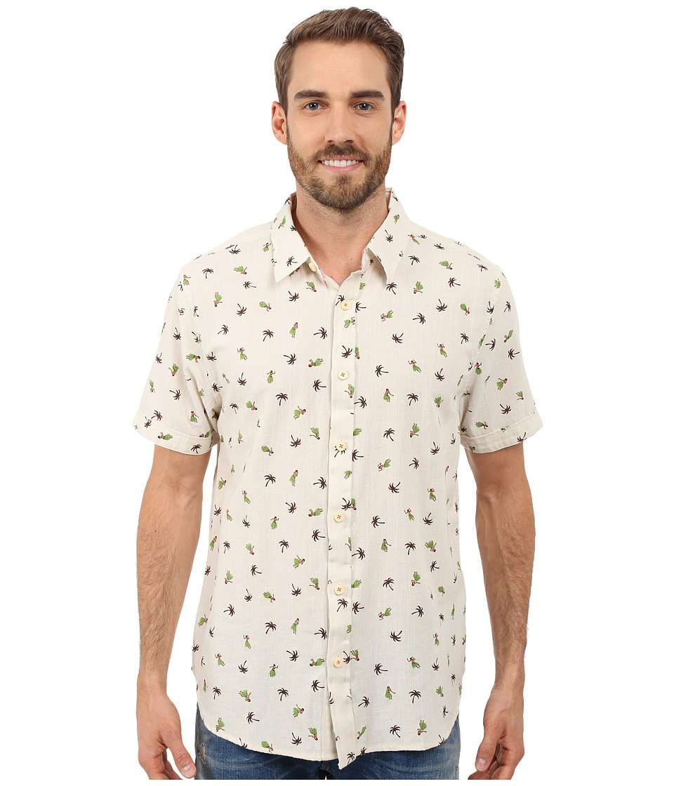 True Grit Hula Girls Short Sleeve Linen Shirt Vintage Washed Natural Mens Short Sleeve Button Up