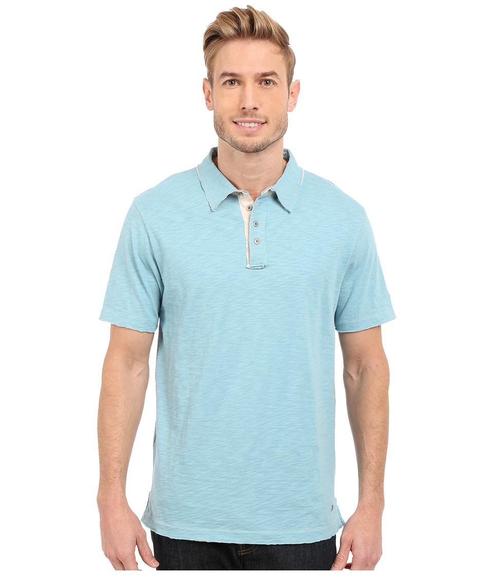 True Grit Slub Jersey Short Sleeve Vintage Polo Soft Blue Mens Short Sleeve Pullover