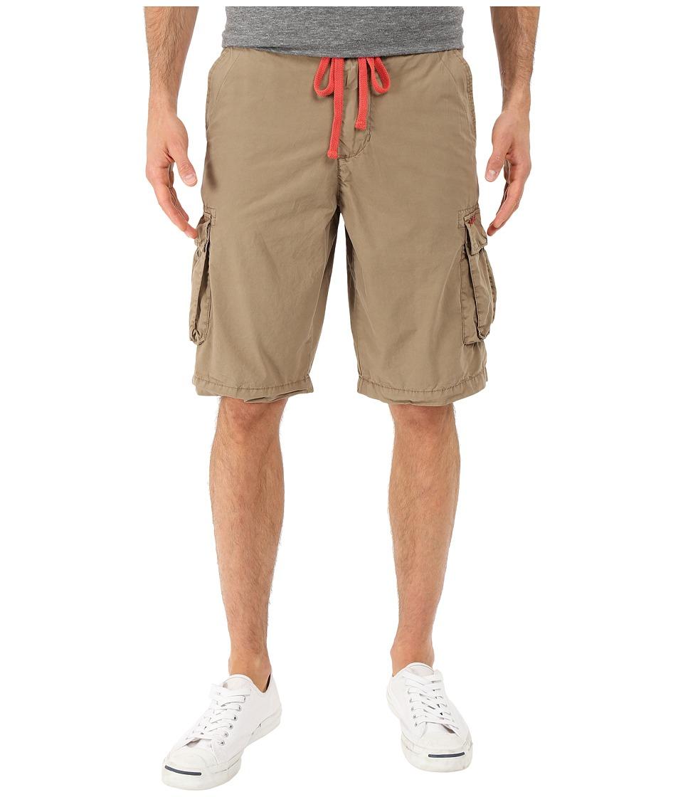 True Grit Rock Point Drawstring Cargo Shorts w/ Knit Waistband Dusty Khaki Mens Shorts