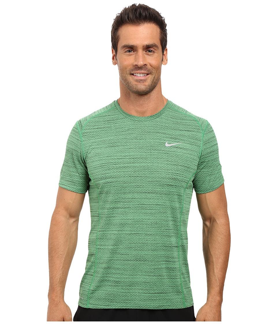 Nike Dry Miler Short Sleeve Running Top (Light Green Spark/Black/Reflective Silver) Men