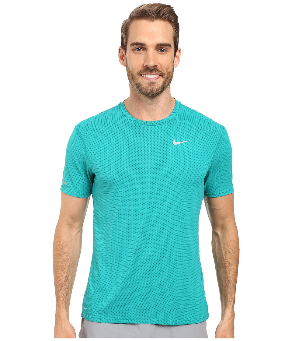 Nike - Dri-FIT Contour S/S Running Shirt (Teal Charge/Reflective Silver) Men