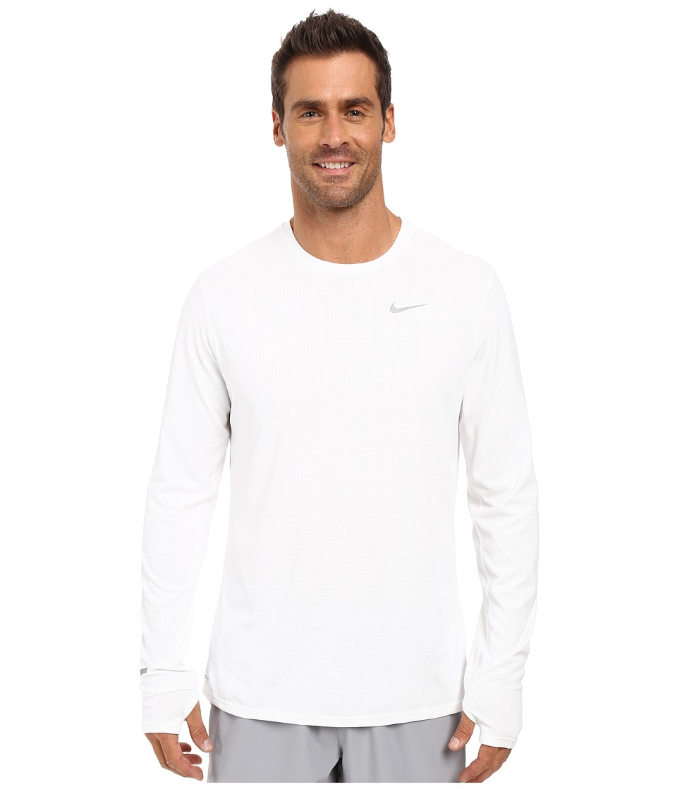 Nike - Dri-FIT Contour L/S Running Shirt (White/Reflective Silver) Men