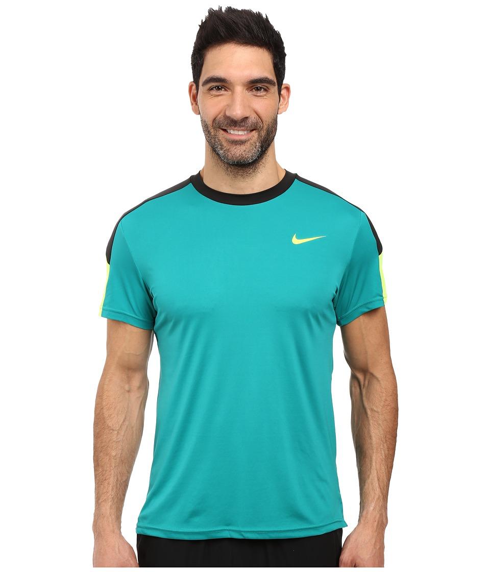 Nike Court Tennis Shirt (Rio Teal/Black/Volt/Volt) Men